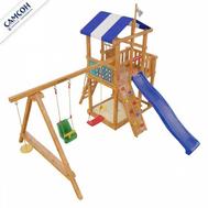Детская игровая площадка - САМСОН БРЕТАНЬ (модель 2018 года), домик с балконом, качели, горка, песочница, фото 1