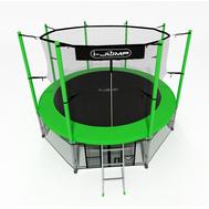 Уличный складной батут на металлокаркасе - i-JUMP 12FT GREEN, защитная сетка, мат, лестница, фото 1